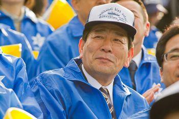 応援に駆けつけた渡辺敬夫いわき市長